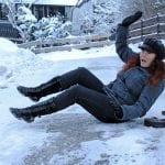 woman slips on ice